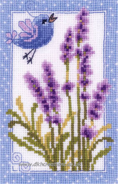 Blue On Blue Bird And Lavender Flowers Cross Stitch Kit